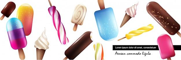 Realistische frische eiscremesammlung mit hellen bunten eiscremes verschiedener sorten auf weißem hintergrund
