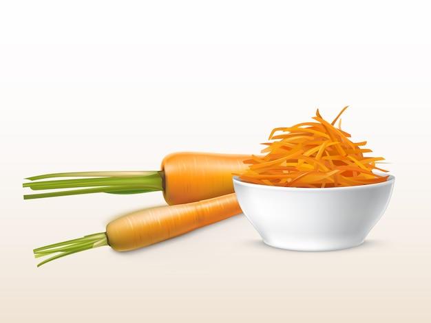 Realistische frische karotten 3d und geriebenes orange gemüse in der weißen porzellanschüssel.