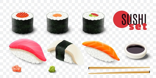 Realistische frische sushi-satz-beschneidungspfad isolierte illustration