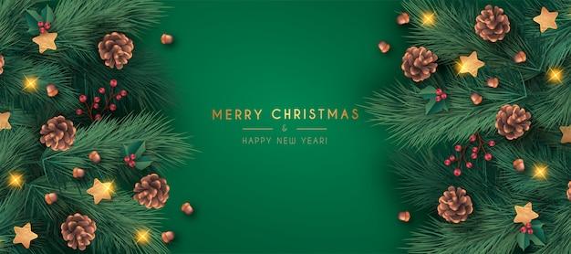 Realistische frohe weihnachten banner vorlage