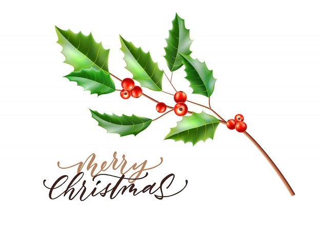 Realistische frohe weihnachten stechpalmenblätter