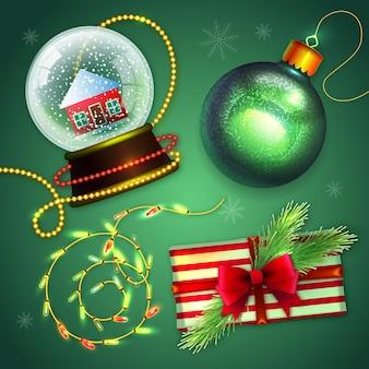 Realistische frohe weihnachtselemente