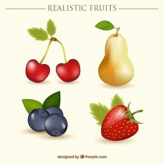 Realistische früchte mit kirschen und eine birne