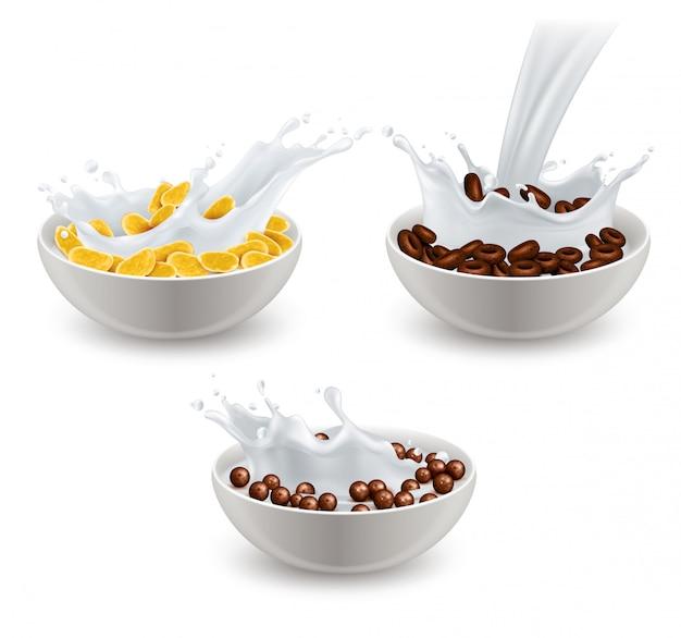 Realistische frühstücksflocken milch set