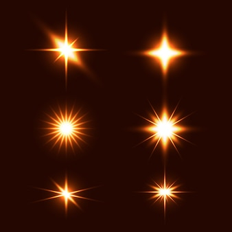 Realistische funkelnde sterne kollektion