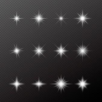 Realistische funkelnde sternenkollektion