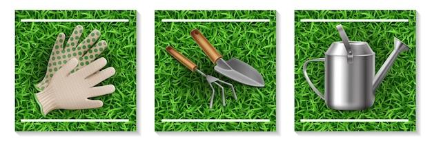 Realistische garten- und aussaatelemente, die mit handschuhen rechenkelle bewässerungsdose auf isolierter illustration des grashintergrunds gesetzt werden
