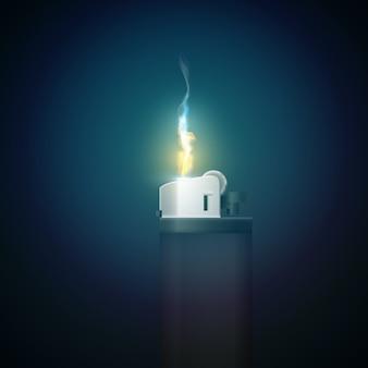 Realistische gasfeuerzeugschablone mit brennender flamme