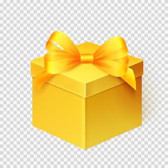 Realistische gelbe geschenkbox mit dem band lokalisiert