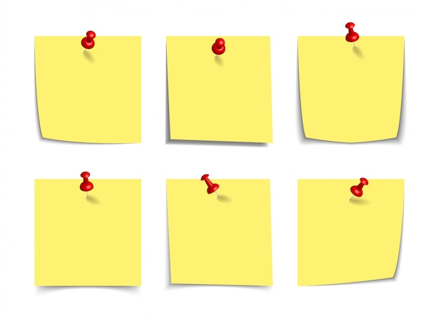 Realistische gelbe haftnotizen mit realistischen 3d-stecknadeln, reißnägel isoliert auf weiß. quadratische klebrige papiererinnerungen mit schatten, papierseitenmodell.