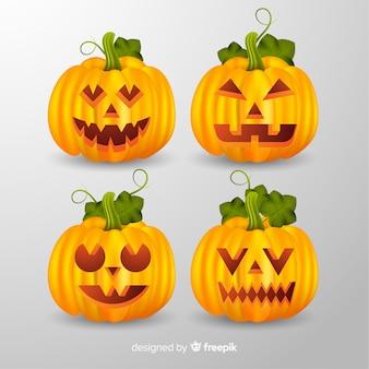 Realistische gelbe halloween-kürbissammlung