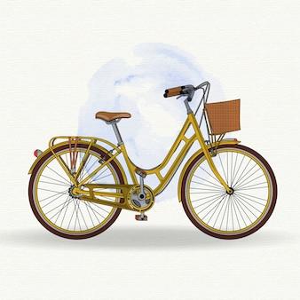 Realistische gelbe vintage fahrrad