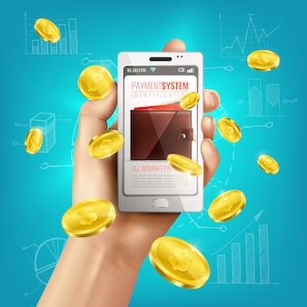 Realistische geldbörsenbegriffszusammensetzung mit smartphone in der menschlichen hand und in den goldenen münzen mit finanzskizzen