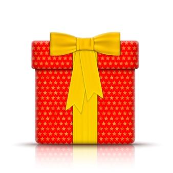 Realistische geschenkbox eingewickelt durch papier