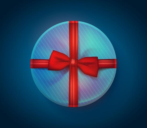 Realistische geschenkbox mit band. premium.