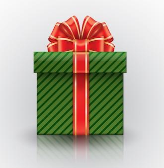 Realistische geschenkbox mit einem großen roten bogen.