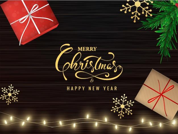 Realistische geschenkboxen und schneeflocken der draufsicht auf hölzernem hintergrundweihnachtsgruß browns