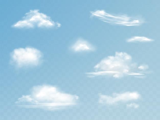 Realistische gesetzte illustration der wolken des lichtdurchlässigen bewölkten himmels mit flaumigen wolken