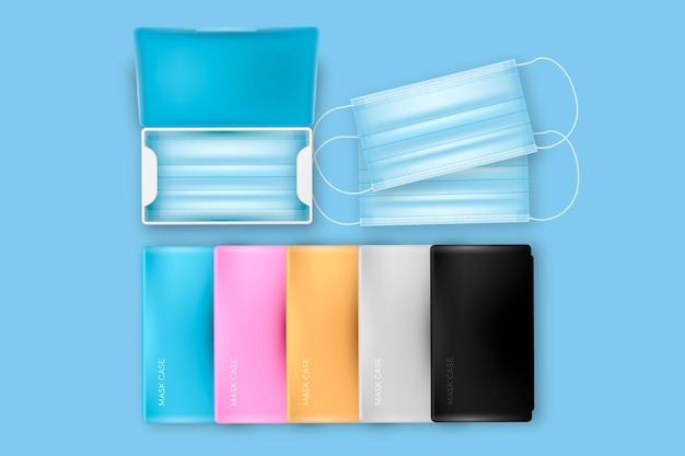 Realistische gesichtsmasken-aufbewahrungskoffer-sammlung