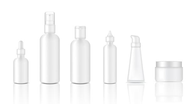 Realistische glänzend weiße kosmetische dropper und sprühflasche