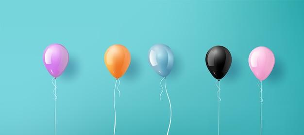 Realistische glänzende bunte luftballons