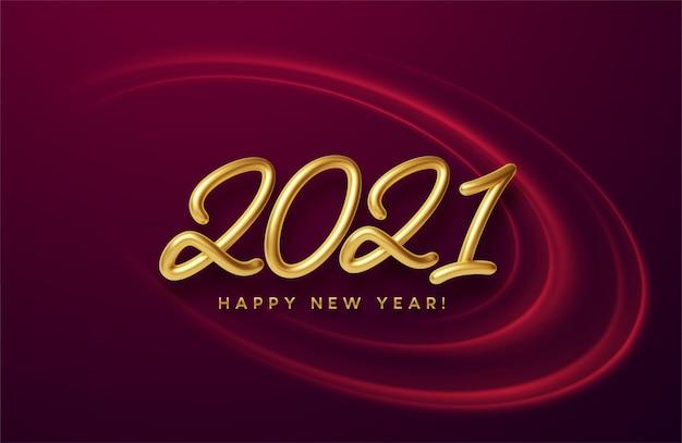 Realistische glänzende goldene 3d-inschrift 2021 ein frohes neues jahr auf einem hintergrund mit roten hellen wellen.