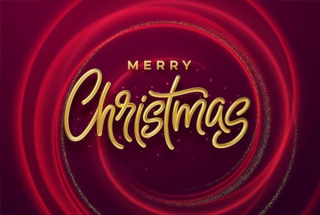 Realistische glänzende goldene 3d-inschrift frohe weihnachten auf einem hintergrund mit roten hellen wellen. vektorillustration eps10