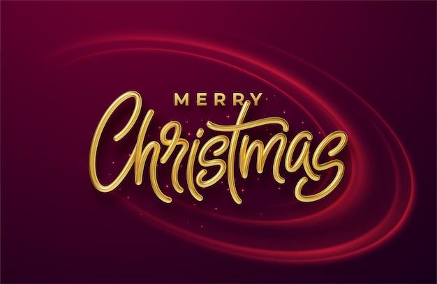 Realistische glänzende goldene 3d-inschrift frohe weihnachten auf einem hintergrund mit roten hellen wellen.
