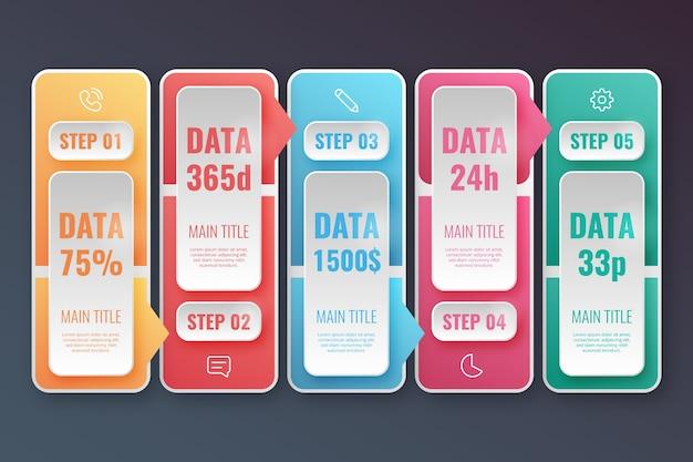 Realistische glänzende infografik schritte