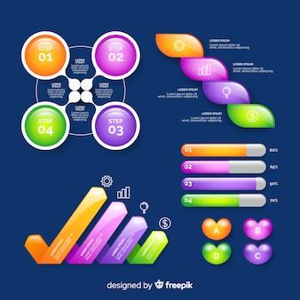 Realistische glänzende infographik elemente sammlung