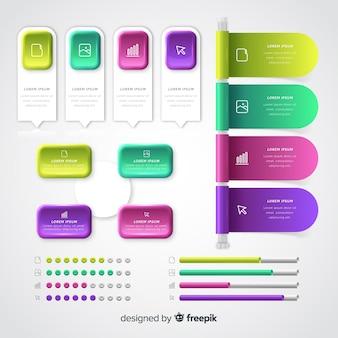 Realistische glänzende infographik elementsammlung