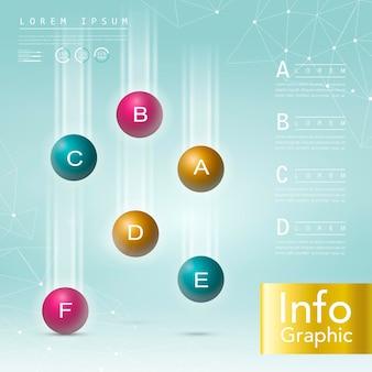 Realistische glänzende kugeln infografik elemente vorlagendesign