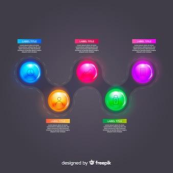 Realistische glänzende kunststoff infographik elementsammlung