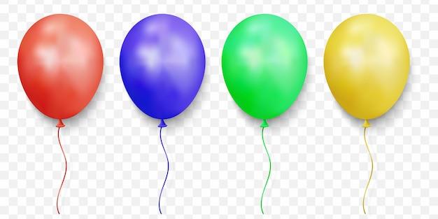 Realistische glänzende luftballons auf transparent