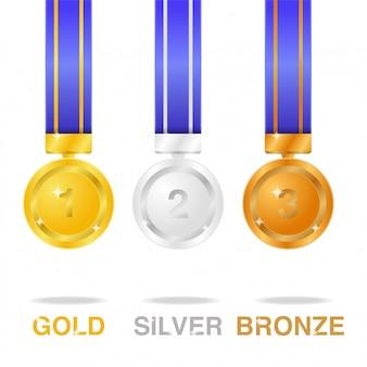 Realistische glänzende medaille olympics