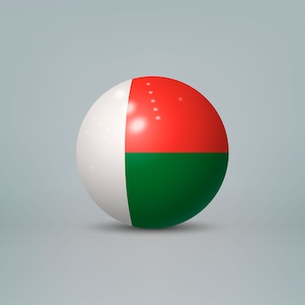 Realistische glänzende plastikkugel mit flagge von madagaskar