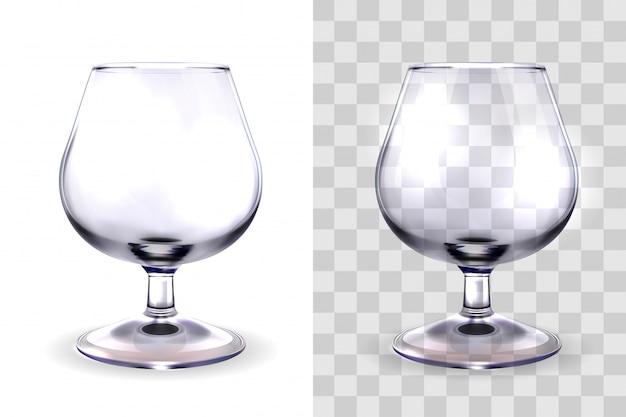 Realistische gläser für alkohol, schnüffler, isoliert