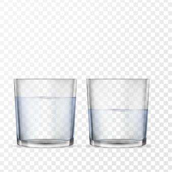 Realistische gläser für getränke mit wasser