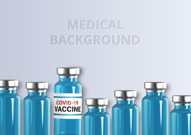 Realistische glasampullen impfstoffinjektion coronavirus covid-19