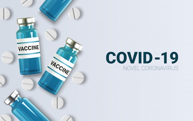 Realistische glasampullen mit medizin. impfstoffinjektion. corona-virus-infektion, neuartige coronavirus-krankheit ,,.