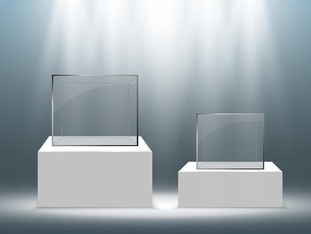 Realistische glasbox oder behälter auf einem weißen ständer.