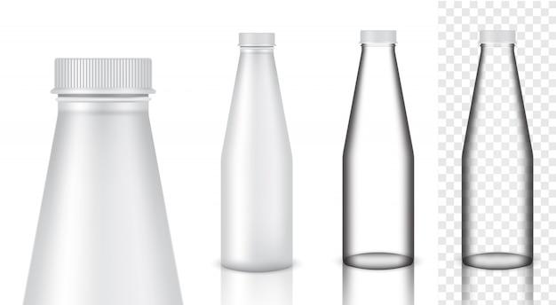 Realistische glasflasche mit transparentem verpackungsprodukt