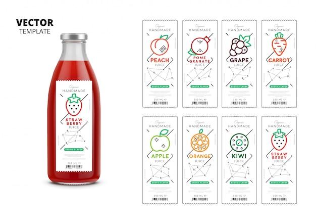 Realistische glasflaschenverpackung des frischen safts mit aufklebern