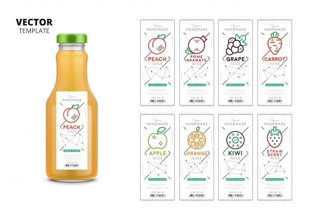 Realistische glasflaschenverpackung des frischen safts mit kennsatzfamilie