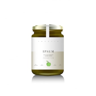 Realistische glasflaschenverpackung für fruchtmarmelade. grün eine apfelmarmelade mit designetikett, typografie, linie ein apfelsymbol.