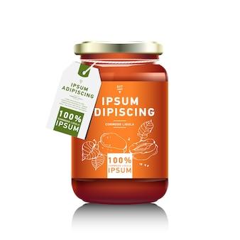 Realistische glasflaschenverpackung für fruchtmarmeladenentwurf. aprikosenmarmelade mit designetikett. orangenmarmelade. obstglas