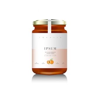 Realistische glasflaschenverpackung für fruchtmarmeladenentwurf. aprikosenmarmelade mit designetikett, typografie, linienzeichnung aprikosen.