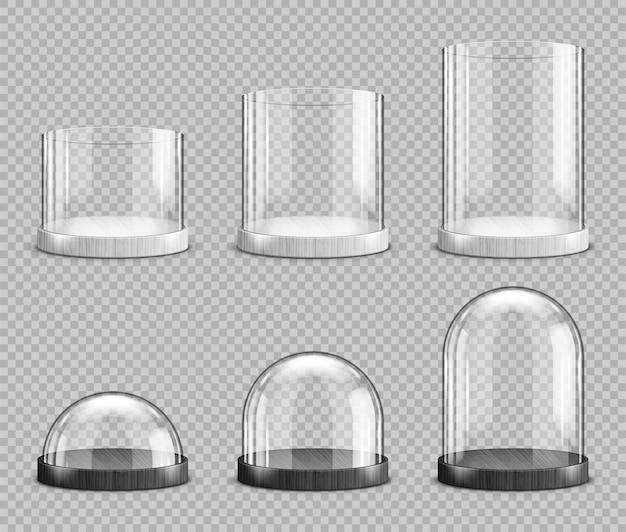 Realistische glaskuppeln und -zylinder, weihnachts-schneekugel-souvenirs, isolierte kristallhalbkugelbehälter auf kleinem, mittlerem und großem sockel. festliches weihnachtsgeschenk modell, realistisches 3d-set