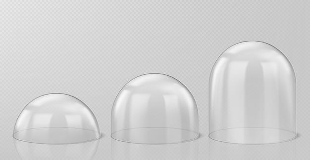 Realistische glaskuppeln, weihnachtsschneekugel-andenken isoliert