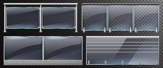 Realistische glaszäune. heimtreppe oder balkon glasbalustrade mit stahlgeländer
